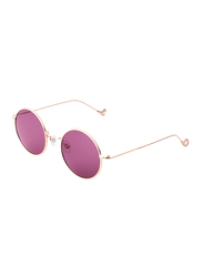 Daniel Klein Polarized Round Full Rim Rose Gold Frame Sunglasses for Women, Pink Lens, DK4215C, 47/15/140