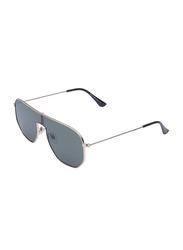 Daniel Klein Polarized Shield Full Rim Silver Frame Sunglasses for Women, Green Lens, DK4287PC, 56/18/140