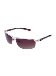 Daniel Klein Polarized Sport Half-Rim Rose Gold Frame Sunglasses for Men, Brown Lens, DK3073C, 68/18/130