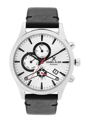 Daniel Klein Analog Watch for Men, with Leather Band, Water Resistant and Chronograph, DK12156-1, Black-Silver