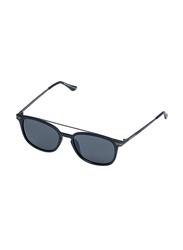 Daniel Klein Polarized Wayfarer Full-Rim Black Frame Sunglasses for Men, Grey Lens, DK3202C, 52/18/140
