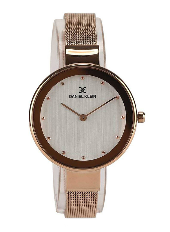 Daniel Klein Analog Watch for Women, with Metal Band and Water Resistant, DK11854, Rose Gold-Silver