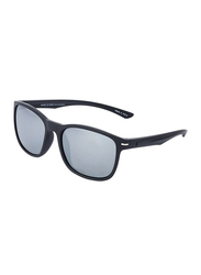 Daniel Klein Polarized Wayfarer Full-Rim Black Frame Sunglasses for Men, Grey Lens, DK3170C, 53/18/135