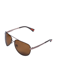 Daniel Klein Polarized Aviator Full-Rim Copper Frame Sunglasses for Men, Brown Lens, DK3190C, 65/23/130