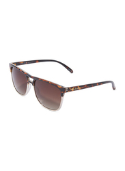 Daniel Klein Polarized Clubmaster Full-Rim Animal Print Frame Sunglasses for Men, Brown Lens, DK3188C, 54/15/140