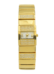 Spectrum Analog Watch for Women, with Stainless Steel Band, S22165L-2, Gold-White