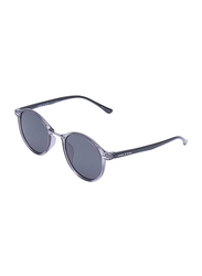 Daniel Klein Polarized Round Full Rim Grey Frame Sunglasses for Women, Grey Lens, DK4289C, 50/18/140