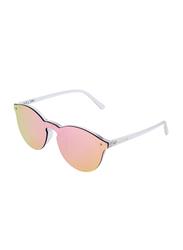 Daniel Klein Trendy Round Full-Rim Transparent Frame Sunglasses for Women, Mirrored Pink Lens, DK4179PC, 56/14/140