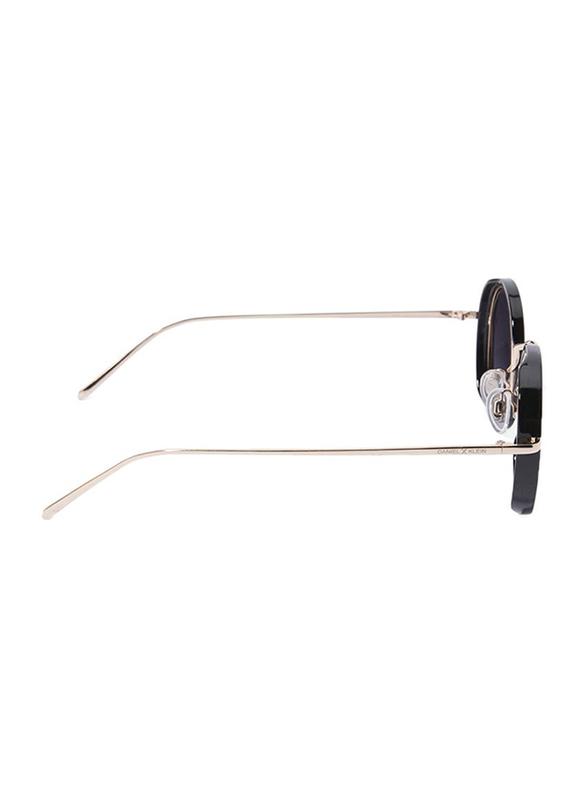 Daniel Klein Polarized Round Full Rim Black Frame Sunglasses for Women, Purple Lens, DK4199C, 50/18/140
