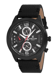 Daniel Klein Premium-Gents Analog Watch for Men, with Leather Band, Water Resistant and Chronograph, DK11647, Black