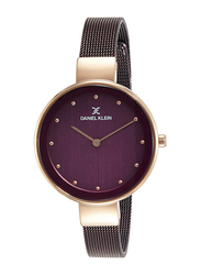 Daniel Klein Analog Watch for Women, with Metal Band and Water Resistant, DK11854, Purple