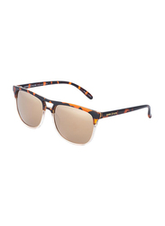 Daniel Klein Polarized Clubmaster Full-Rim Animal Print Frame Sunglasses for Men, Cream Colored Lens, DK3188C, 54/15/140