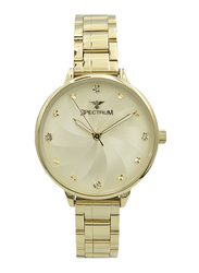 Spectrum Analog Watch for Women, with Stainless Steel Band, S25185L-1, Gold