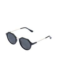 Daniel Klein Polarized Oval Full Rim Black Frame Sunglasses for Women, Black Lens, DK4265C, 50/18/140