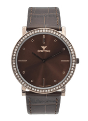 Spectrum Analog Watch for Men, with Leather Band, S12501M-6, Brown-Coffee Brown