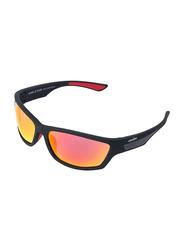 Daniel Klein Polarized Sport Full-Rim Black Frame Sunglasses for Men, Mirrored Orange Lens, DK3138C, 60/9/130