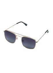 Daniel Klein Polarized Rectangular Full-Rim Gold Frame Sunglasses for Men, Blue Lens, DK3154C, 52/21/130