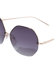 Daniel Klein Polarized Hexagonal Half Rim Gold Frame Sunglasses for Women, Purple Lens, DK4203C, 50/12/140