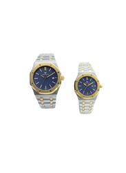 Spectrum Challenger Analog Unisex Couple Watches, with Stainless Steel Band, 12566L, Silver/Gold-Blue