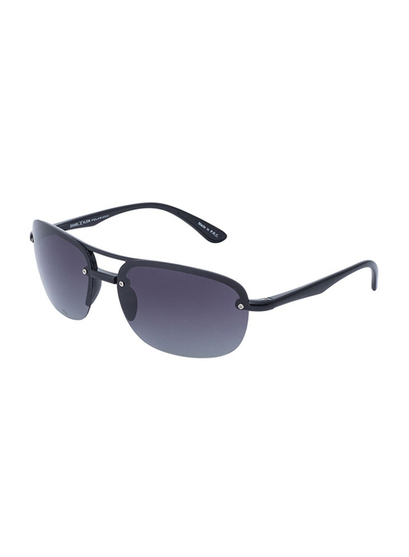 Daniel Klein Polarized Aviator Half-Rim Black Frame Sunglasses for Men, Anthracite Lens, DK3165C, 60/15/130