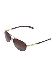 Daniel Klein Polarized Aviator Half-Rim Rose Gold Frame Sunglasses for Men, Brown Lens, DK1260C, 55/17/150