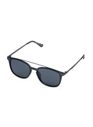 Daniel Klein Polarized Wayfarer Full-Rim Black Frame Sunglasses for Men, Light Black Lens, DK3202C, 52/18/140