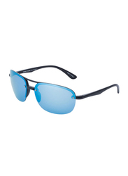Daniel Klein Polarized Aviator Half-Rim Black Frame Sunglasses for Men, Mirrored Blue Lens, DK3165C, 60/15/130