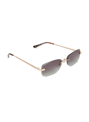 Daniel Klein Rectangular Rimless Gold Frame Sunglasses Women, Green Lens, DK4271PC, 55/17/140