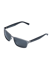 Daniel Klein Polarized Sport Full-Rim Silver Frame Sunglasses for Men, Black Lens, DK3187C, 60/20/140