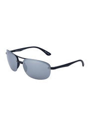 Daniel Klein Polarized Aviator Half-Rim Black Frame Sunglasses for Men, Grey Lens, DK3165C, 60/15/130