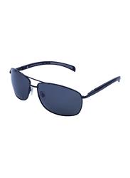 Daniel Klein Polarized Rectangular Full-Rim Black Frame Sunglasses for Men, Grey Lens, DK3148C, 60/14/130