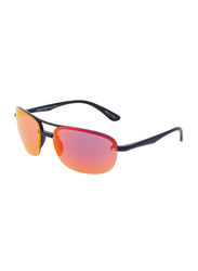 Daniel Klein Polarized Aviator Half-Rim Black Frame Sunglasses for Men, Mirrored Orange Lens, DK3165C, 60/15/130