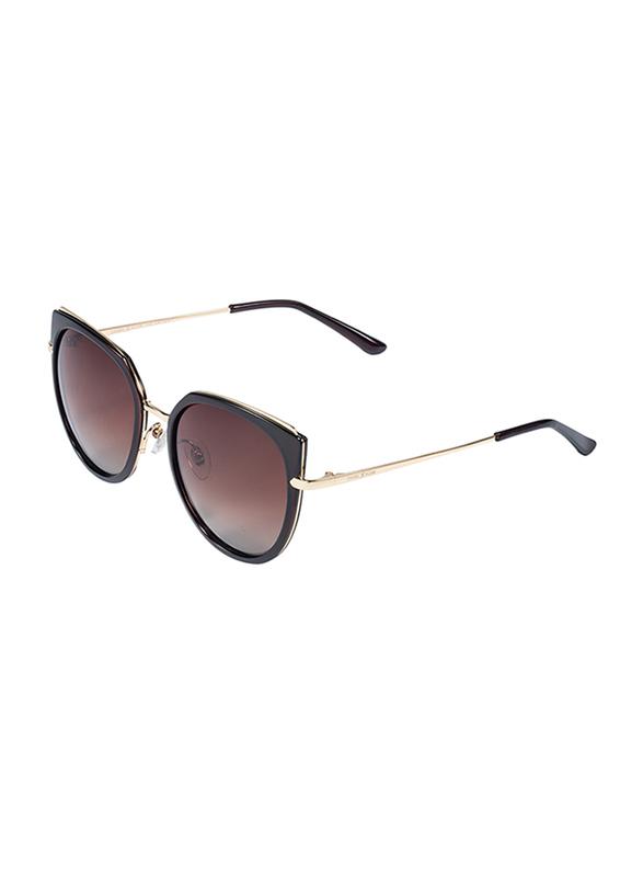 Daniel Klein Polarized Cat Eye Full Rim Golden Frame Sunglasses for Women, Brown Lens, DK4255C, 55/15/150