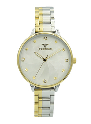 Spectrum Analog Watch for Women, with Stainless Steel Band, S25185L-3, Silver/Gold-White