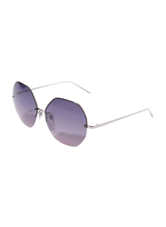 Daniel Klein Polarized Hexagonal Half Rim Silver Frame Sunglasses for Women, Purple Lens, DK4203C, 50/12/140