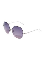Daniel Klein Polarized Hexagonal Half Rim Silver Frame Sunglasses for Women, Purple Lens, DK4203C, 50/12/140