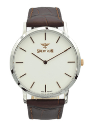 Spectrum Analog Watch for Men, with Leather Band, S12440M-1, Brown-White