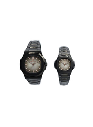 Spectrum Explorer Analog Unisex Couple Watches, with Stainless Steel Band, 12583L, Black-Grey
