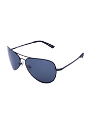 Daniel Klein Polarized Aviator Full-Rim Black Frame Sunglasses for Men, Grey Lens, DK3164C, 60/20/130