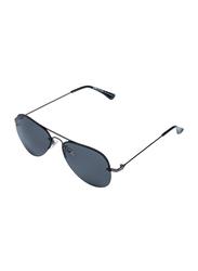 Daniel Klein Polarized Aviator Half-Rim Black Frame Sunglasses for Men, Black Lens, DK1087C, 50/15/140