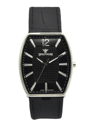 Spectrum Analog Watch for Men, with Leather Band, S12474M-4, Black-Black/Silver