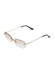 Daniel Klein Rectangular Rimless Gold Frame Sunglasses Women, Brown Lens, DK4271PC, 55/17/140