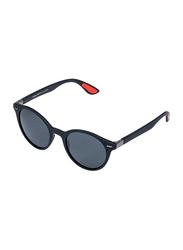 Daniel Klein Polarized Round Full-Rim Black Frame Sunglasses for Men, Grey Lens, DK3199C, 50/18/140