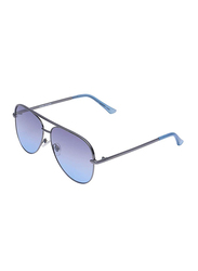 Daniel Klein Polarized Aviator Full Rim Silver Frame Sunglasses for Women, Blue Lens, DK4279PC, 64/18/140