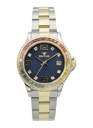 Spectrum Analog Watch for Women, with Stainless Steel Band, S25183L-3, Silver/Gold-Blue