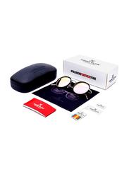 Daniel Klein Polarized Round Full Rim Black Frame Sunglasses for Women, Mirrored Pink Lens, DK4199C, 50/18/140