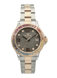 Spectrum Analog Watch for Women, with Stainless Steel Band, S25183L-4, Silver/Rose Gold-Grey