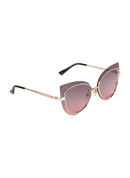 Daniel Klein Polarized Cat Eye Full Rim Gold Frame Sunglasses for Women, Lilac Lens, DK4257PC, 50/17/150