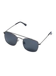 Daniel Klein Polarized Rectangular Full-Rim Black Frame Sunglasses for Men, Black Lens, DK3154C, 52/21/130