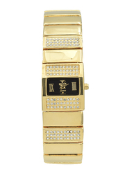 Spectrum Analog Watch for Women, with Stainless Steel Band, S22165L-3, Gold-Black